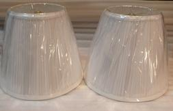 "1 Pair of White Pleated Lamp Shades 9"" ht."