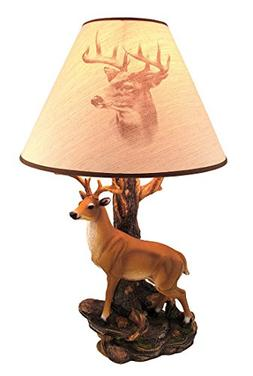 'Champion' 12 Point Buck Table Lamp w/ Printed Shade