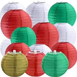 18 Pcs 5 Sizes Christmas Decorative Paper Lanterns Hanging C