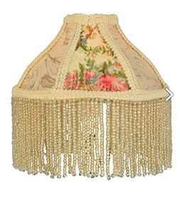 "Meyda Tiffany 25901 Fabric & Fringe Roses Lamp Shade, 6"" Wid"