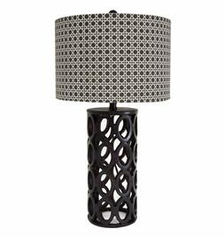 """28"""" Hollowed-out cylindrical Table Lamp with Plaid Pattern L"""