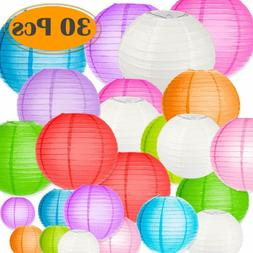 Selizo 30 Packs Paper Lanterns Decorative Colorful Chinese H