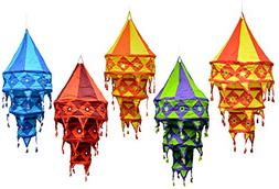 5pcs-25pcs Indian Ethnic Multi Color Hanging Lamps shades Mi