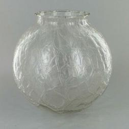 "6"" Diameter ~  CLEAR CRACKLE ~  Glass Lamp Shade ~ 3 1/4"" Fi"