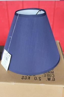 "Table Lights LAMP SHADES Clip-On Bulb 9"" Cone Navy Blue Cra"