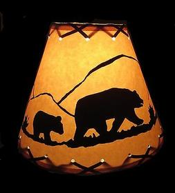 "9"" FAUX OILED KRAFT LACED LAMP SHADE CLIP-ON WITH BEAR SCENE"
