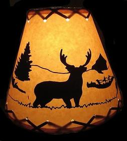 "9"" FAUX OILED KRAFT LACED LAMP SHADE CLIP-ON WITH DEER SCENE"