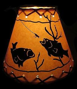 "9"" FAUX OILED KRAFT LACED LAMP SHADE CLIP-ON WITH FISH SCENE"
