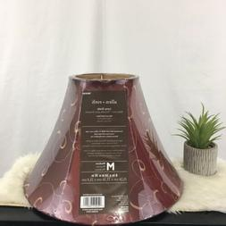 Allen + Roth 6in x 14in x 10in Red and Gold Fabric Bell Lamp