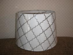 Allen+Roth Medium Lampshade, Cream Fabric with Gray Embroide