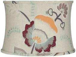 Beige w/ Embroider Flowers Drum Lamp Shade 15x16x11
