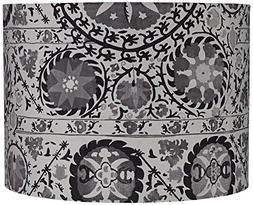 Black and Gray Suzani Drum Lamp Shade 15x15x11