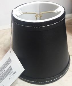 Ethan Allen Black Leather Silk Lined Chandelier Clip-On Lamp