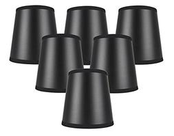 Meriville Set of 6 Black Paper with Gold Liner Chandelier La