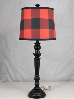 "Albert Estate LTD, Black Spindle Table Lamp and Shade, 12"" W"
