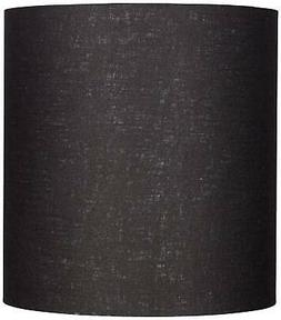 Black Tall Linen Drum Shade 14x14x15