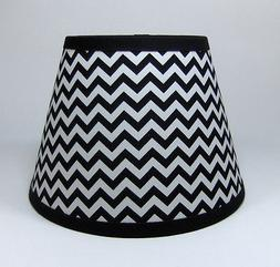 Black White Zig Zag Mia Chevron Stripe Cotton Fabric Lampsha
