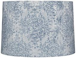 Blue and Gray Floral Drum Lamp Shade 15x16x11