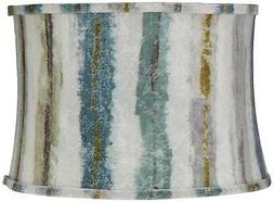 blue multi crackle stripes drum lamp shade