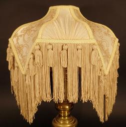 Brand New Beige Bridge Victorian Fringed Uno Fabric Poly Ble