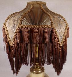 Brand New Mocha Bridge Victorian Fringed Uno Fabric Poly Ble