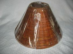 """BROWN 15"""" WICKER RATTAN WOVEN LAMP SHADE NEW IN PLASTIC"""