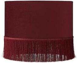 burgundy velvet drum lamp shade with fringe