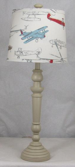 Albert Estate LTD, Buttermilk Spindle Table Lamp with Shade,