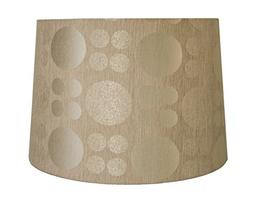 "Circle Pattern Fabric Lamp Shade, 14x16x11"", Taupe"