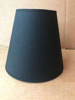 "Clip-on Lamp Shade Black, Round Tapered 7.5"" Tall Cloth Fabr"