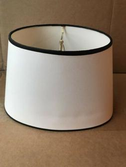 "Clip-On Lamp Shades Oval White With Black Trim 8"" Tall 12"" W"