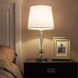 Contemporary Bedroom Crystal Table Lamp with White Fabric Sh