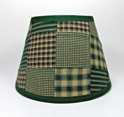 Country Primitive Green Patchwork Quilt Homespun Fabric Lamp