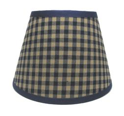 Country Primitive Navy Medium Check Homespun Fabric Lampshad