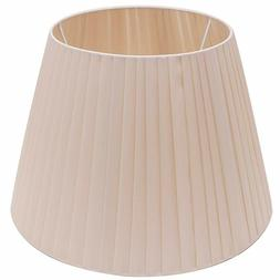Cream Pleated Drum Lamp Shade Fabric Barrel Lampshade with U