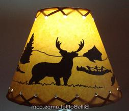DEER Table Light Cabin Cottage LAMP SHADE Clip-On Bulb Style