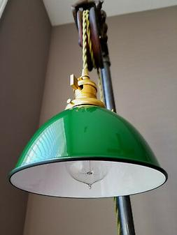 "Green Porcelain Enamel Shade: 7"" Industrial Dome, 2-1/4"" fit"