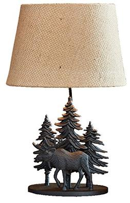 Hand Crafted Cast Metal Black Moose Lamp with Shade