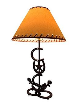 Horseshoes and Spurs Western Style Metal Lamp w/Leather Look