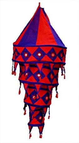 Indian Ethnic Hanging Lampshade Embroidered Mirror Work Home