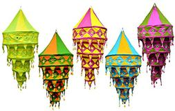 Amazing India 25pcs Indian Multi Color Hanging Lamp shade Pa