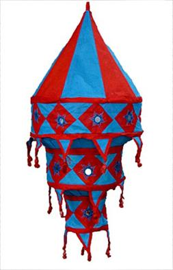 Indian Traditional Hanging Lampshade Embroidered Mirror Work