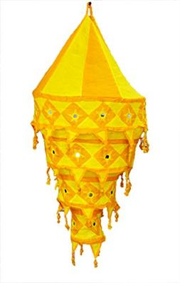 Indian Traditonal Hanging Lampshade Embroidered Mirror Work