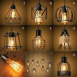 Industrial Vintage Metal Cage Hanging Ceiling Pendant Light