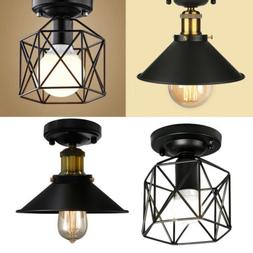 Industrial Vintage Metal Cage Pendant Lamp Semi Flush Mount