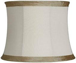 Ivory Linen with Taupe Trim Lamp Shade 14x16x12