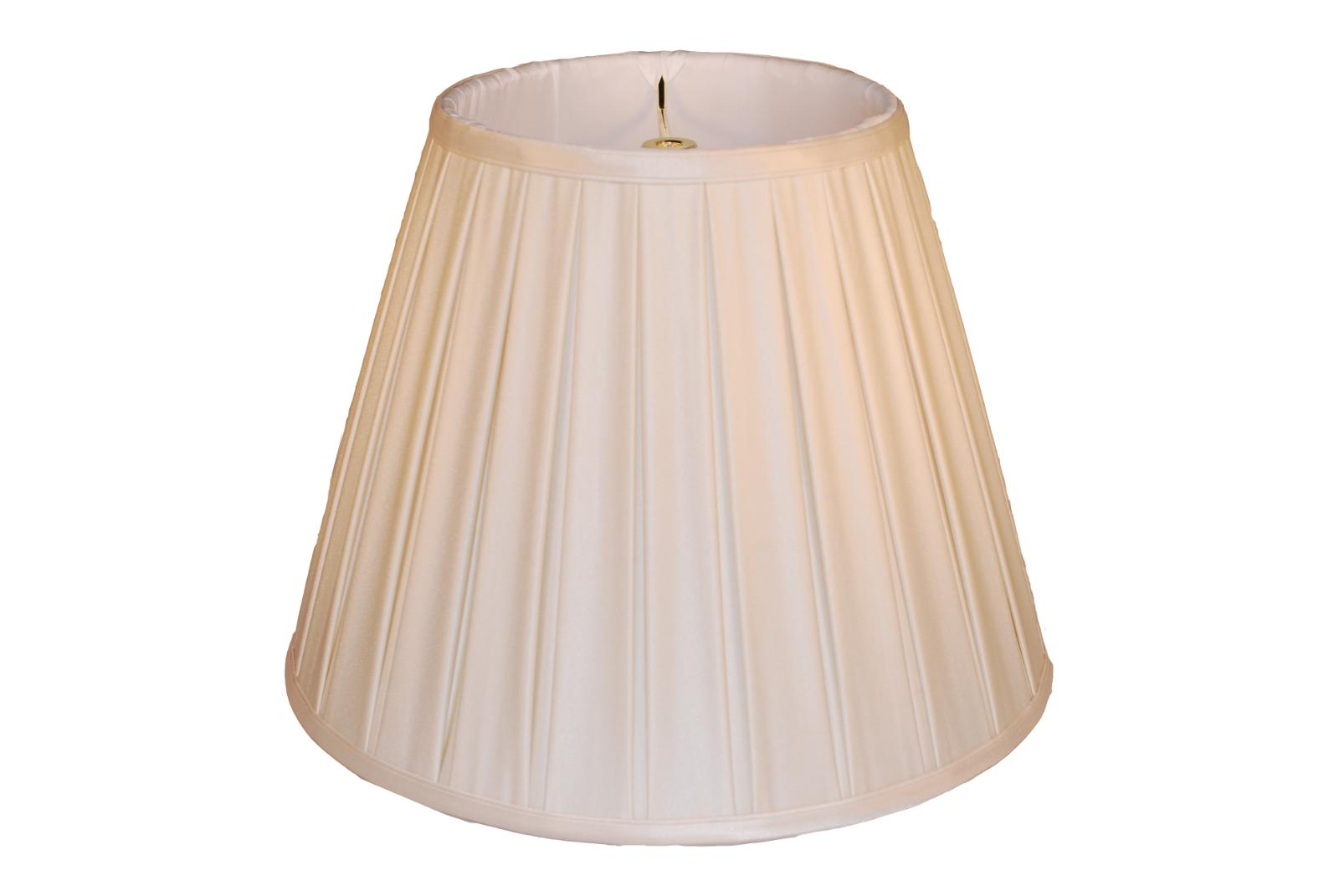 14 cream silk empire box pleat lamp