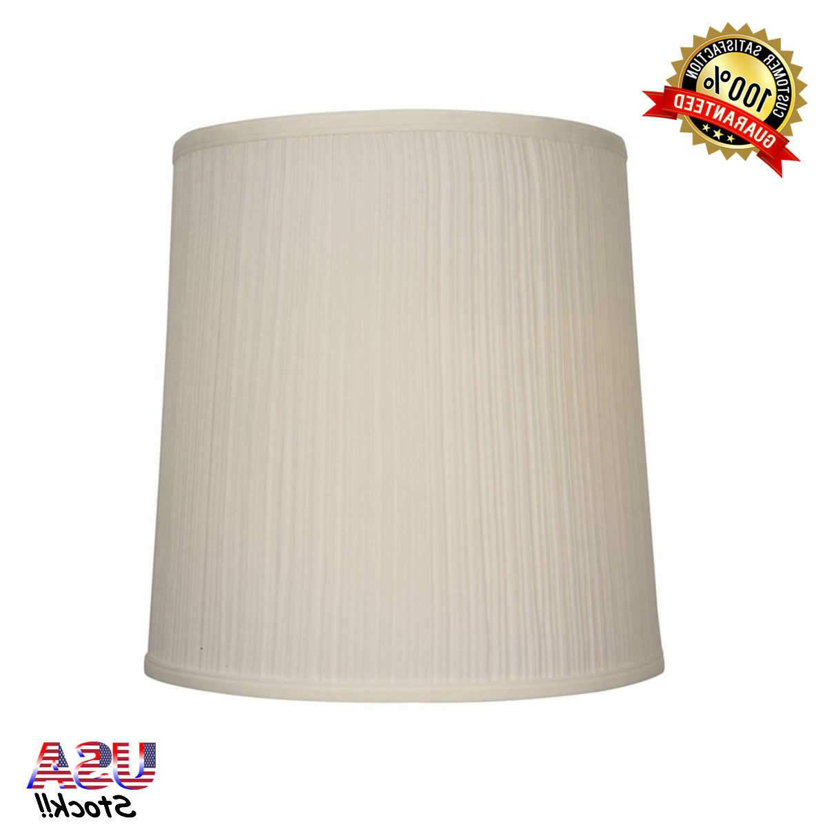 14-in x 14-in Beige Fabric Drum Lamp Shade Fitter Type Spide