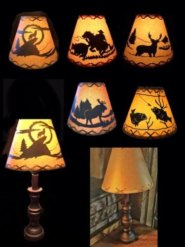 """4"""" 9"""" 7"""" RUSTIC LAMP SHADE Cabin Clip-on"""