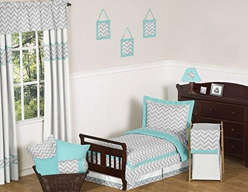 Turquoise and Gray Zig Zag Lamp by